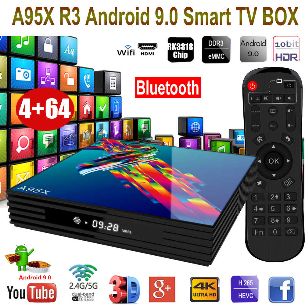 XGODY A95X TV IP Android 9.0 com RK3318 Bluetooth Quad Core Wifi Smart TV Box