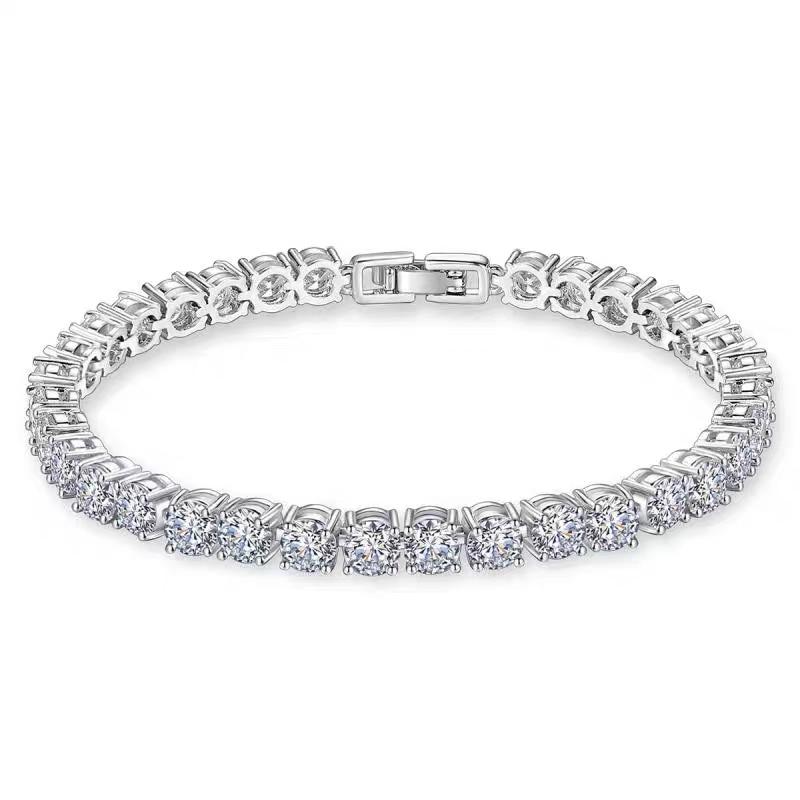 925 Sterling Silver Emerald Cut Simulated Diamond Tennis Bracelet 5mm Box Clasp