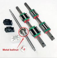 2pcs HGR15 Linear guide rail + 4pcs HGH15CA / HGW15CA Block + 1 set SFU1605 ballscrew + BK/BF12 + Nut housing+ Coupling