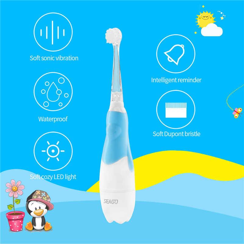 Timer Otomatis Sikat Gigi Listrik Tahan Air Lembut Sikat Gigi untuk Anak-anak, Baterai Sonic Sikat Gigi dengan Lampu LED
