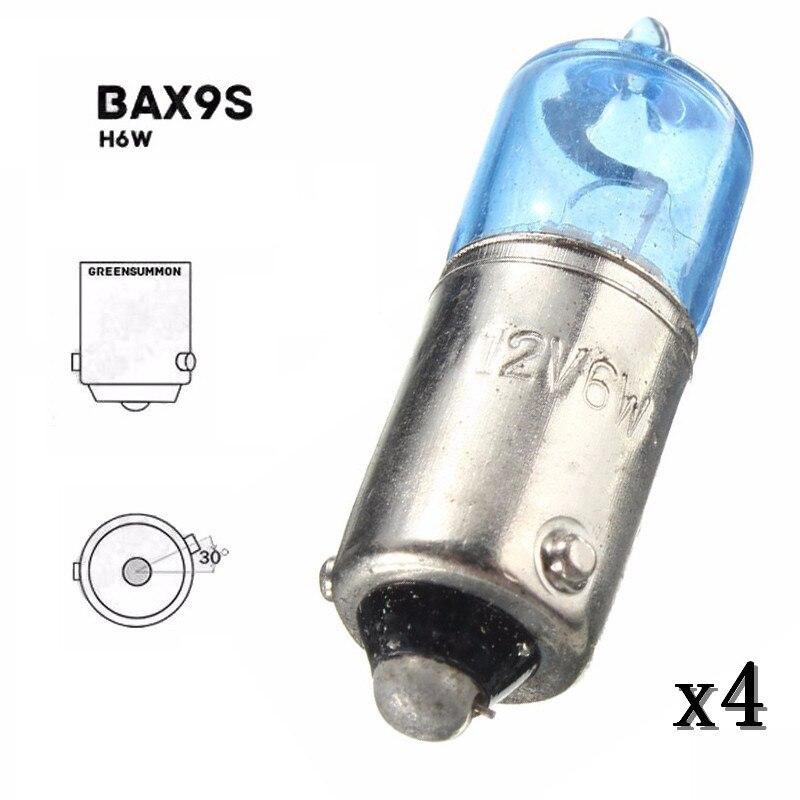 Автомобильные ксеноновые лампы для габаритных огней, 4 шт., 6 Вт, BAX9S, H6W, супер белый цвет, 5000K, 12 В постоянного тока, лампы для указателей поворо...