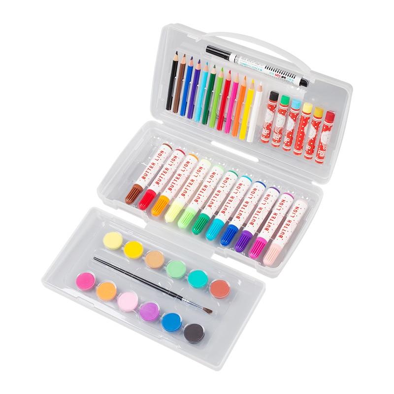 Transparent watercolor, cream lion painting combo set, graffiti pen, oil pastel , student chalk crayon hook line , school gift