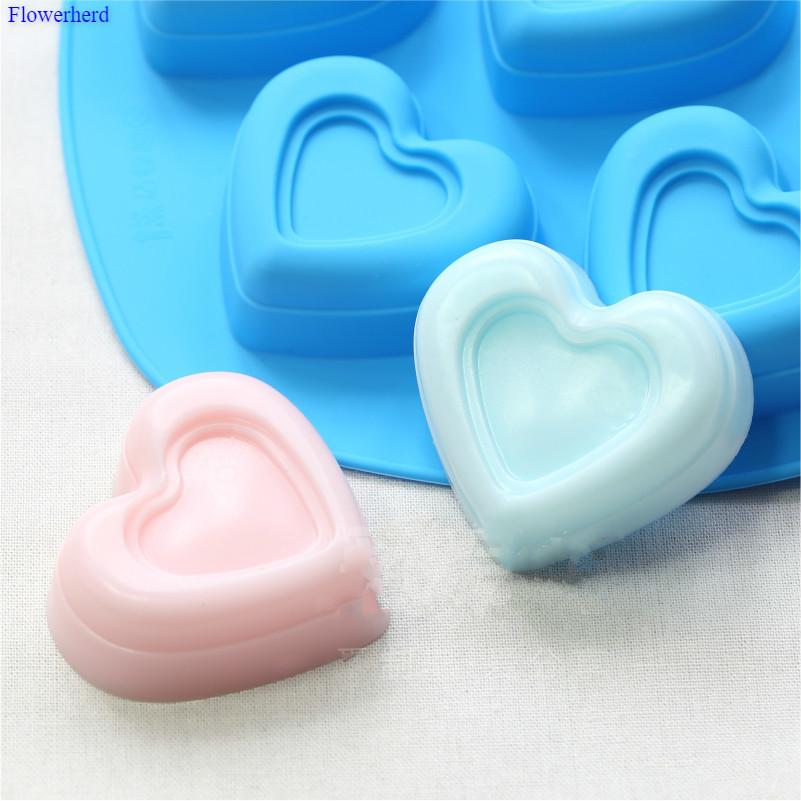 Food Grade Six Cavities Heart Shape Handmade Soap Silicone Mold Soap Making Set DIY Cake Chocolate Mold Cake Decorating Tools