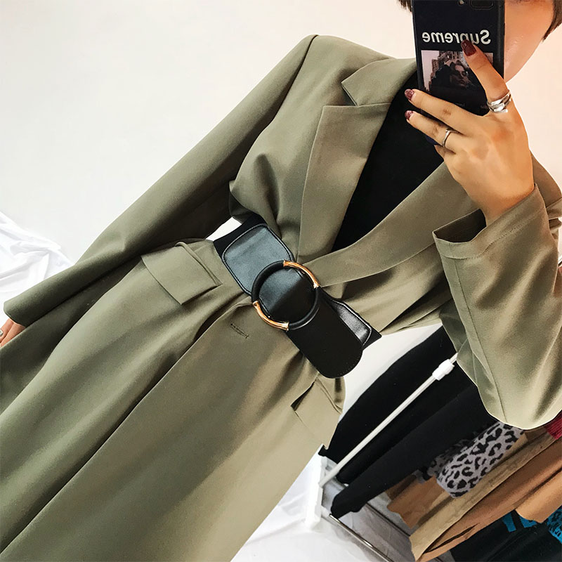 Black Pu Elastic Waist Belt Women Female Fashion Faux Leather Clothing Belt 2020 Dress Sweater Long Belts Round Pattern