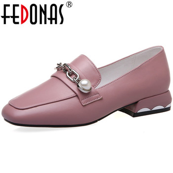 FEDONAS Fashion Pearl Decoration Round Toe Ladies Shoes 2020 Spring Summer Chunky Heels Pumps Basic Working Party Shoes Woman
