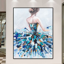 100% Hand-painted Blue dress girl Oil Painting Modern Texture Contemporary Wall painting for room hotel home decoration