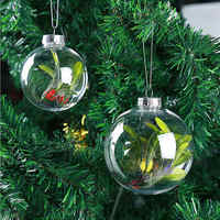 12pcs/set Christmas Tree Hanging Decorations Clear Bauble Open Plastic Ornament Round Ball Kids Christmas Decoration