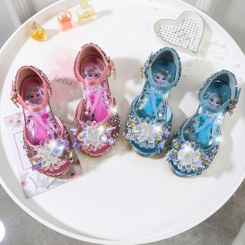Cinderella Shoes For Baby Girls New Fashion Elsa Princess Party Shoes Girls Crystal Shoes Sequins Sandals With High-heeled