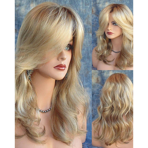 Image 4 - HAIRJOY   Long  Wavy  Synthetic Hair Wig Women  Bugundy  Light Blonde Highlights  for Costume Party