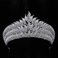 New Bling Wedding Crown Diadem Tiara Full Zirconia Crystal Elegant Woman Tiaras and Crowns For Pageant Party