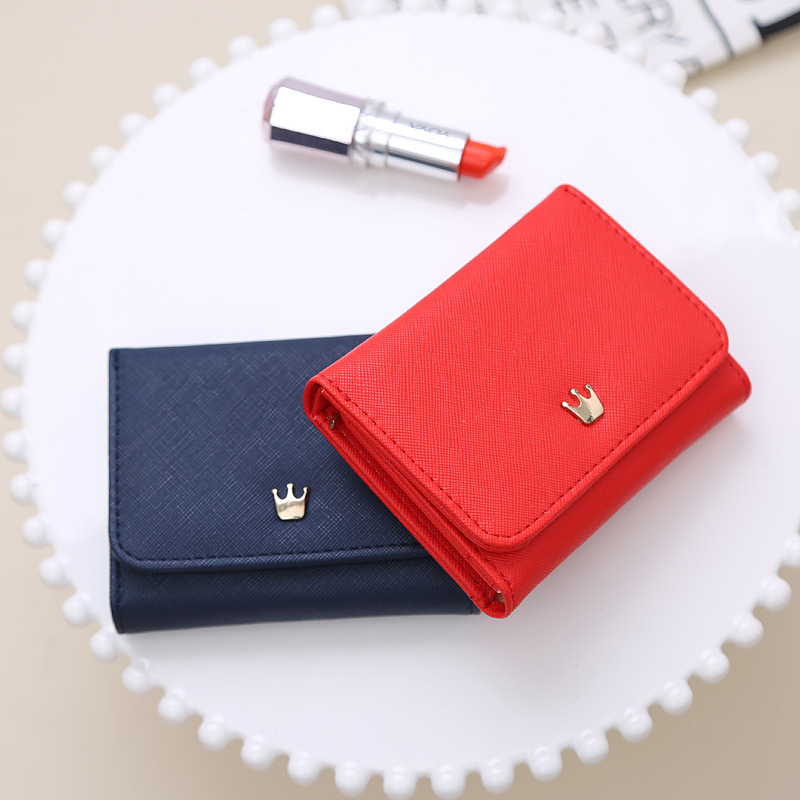 Women Short Wallets Crown Decorative Mini Wallet Folding PU Leather Female Models Purse Card Package Nightmare Before Christmas