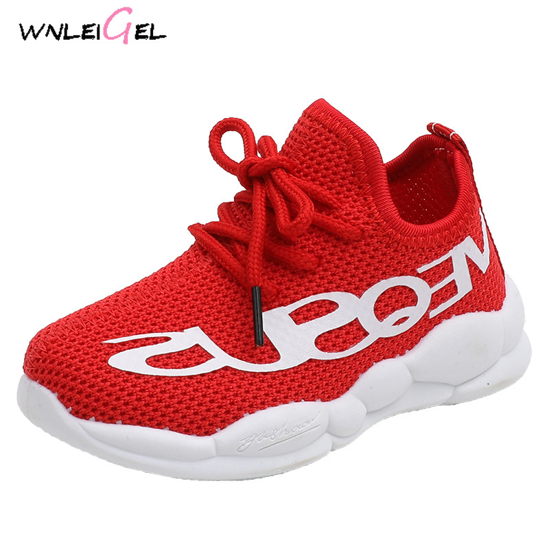 WLG Children Spring Autumn Mesh Sport Shoes Kids Boy Breathable Solid All Match Sneaker Baby Girls Cute Casaul White Shoes