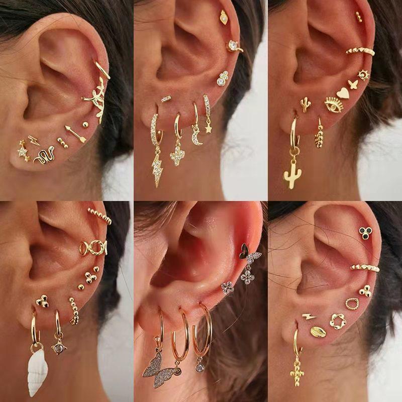 2020 New Evil Eye Cactus Heart Moon Bee Map Lightning Insect Charm Mixed Gold Stud Earrings A Lot Huggie Hoop Earrings