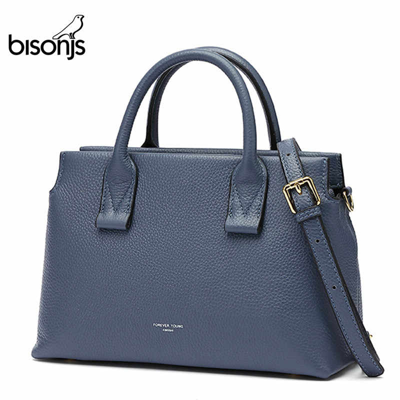 BISON DENIM Genuine Leather Luxury Handbags Women Bags Designer Women Tote Bag Casual top-handle bag Female Shoulder Bag B1870