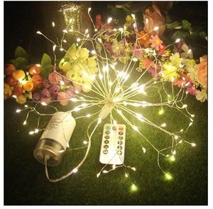 Image 2 - RC 불꽃 놀이 LED 문자열 조명 방수 구리 와이어 요정 빛 매달려 Starburst 반짝임 빛 민들레 Christma 홈 D23