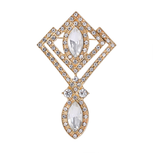 WEIMANJINGDIAN New Arrival Vintage Marquise Crystal Drop Brooches for Women Wedding Dress Clothes Decorative Jewelry Accessories(China)