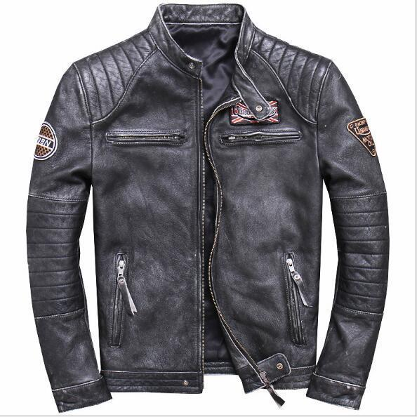 2020 Men's Vintage Black Motorcycle Genuine Leather Jacket Slim Fit Real Thick Cowhide Male Short Leather Biker Coats M-6XL