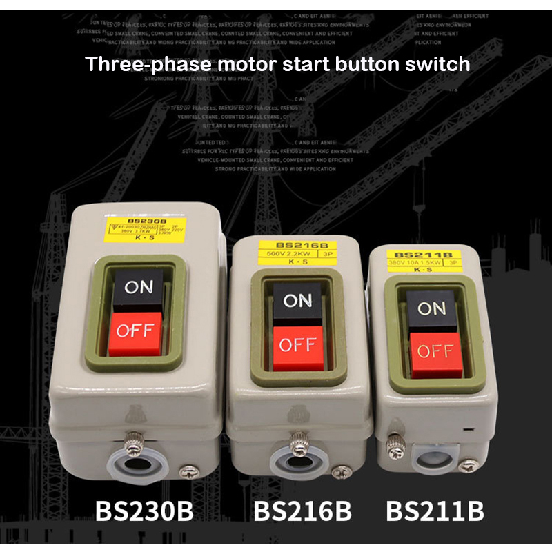New BS211B BS216B BS230B 3 Phase ON/OFF Button Switch Three-phase3P Button Switch 380V Power Switch Start Switch