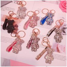 Creative Cute Rhinestone Bear Key Chain Women Crystal Animal Keychains Leather Strap Lanyard Bag Charms Pendant Accessories Gift