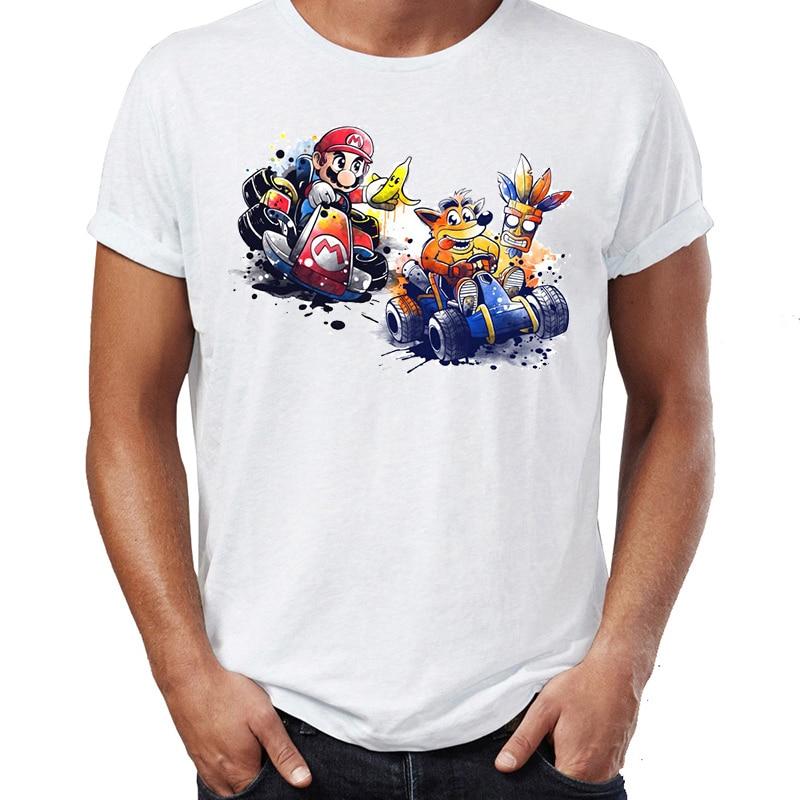 Brand New Men T Shirts 100% Cotton Mario And Crash Bandicoot Cart Racing Awesome Artwork Drawing Printed Tee Shirts Oversize