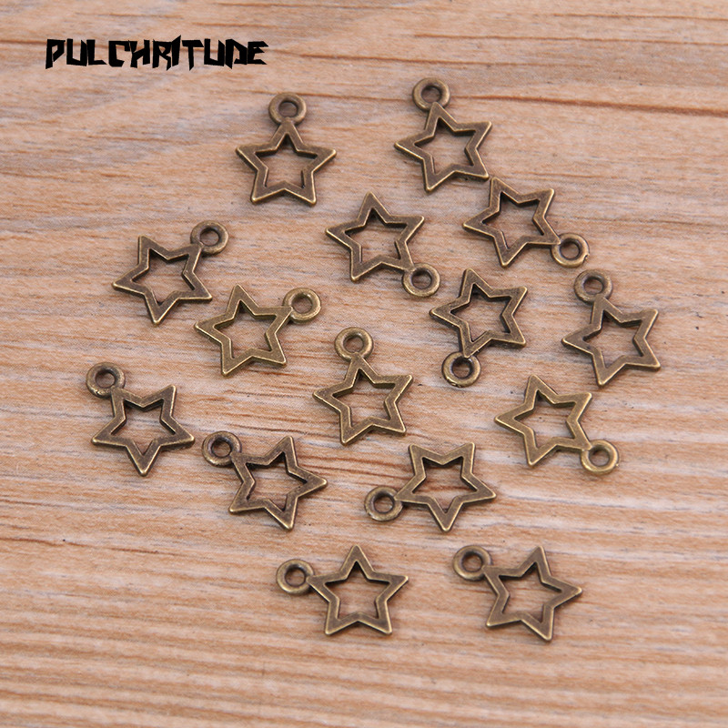 60PCS 10*12mm New Product Two Color Mini Hollow Five-pointed Charms Pendant Jewelry Metal Alloy Jewelry Marking 3