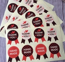80pcs/pack Medal THANK YOU HAND MADE Red Black And Yellow Three-color Sealing Stickers