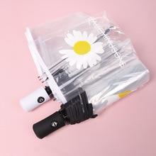 Rain-Umbrella Transparent Windproof Small Fully-Automatic Women Three-Folding Trend Korean