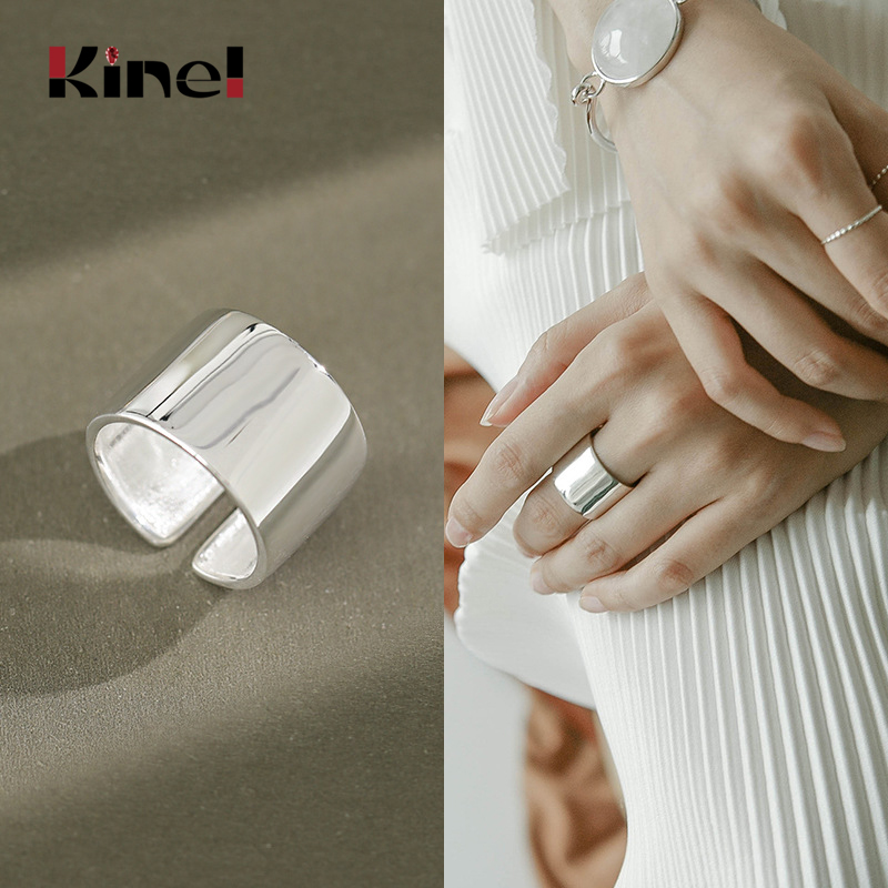 Kinel 925 Sterling Silver Rings For Ladies Minimalism Glossy Open Ring Wide Simple Finger Ring Silver 925 Woman Jewelry