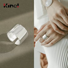 Kinel 925 Sterling Silver Rings for Ladies Minimalism Glossy Open Ring Wide Simple Finger Ring Silve