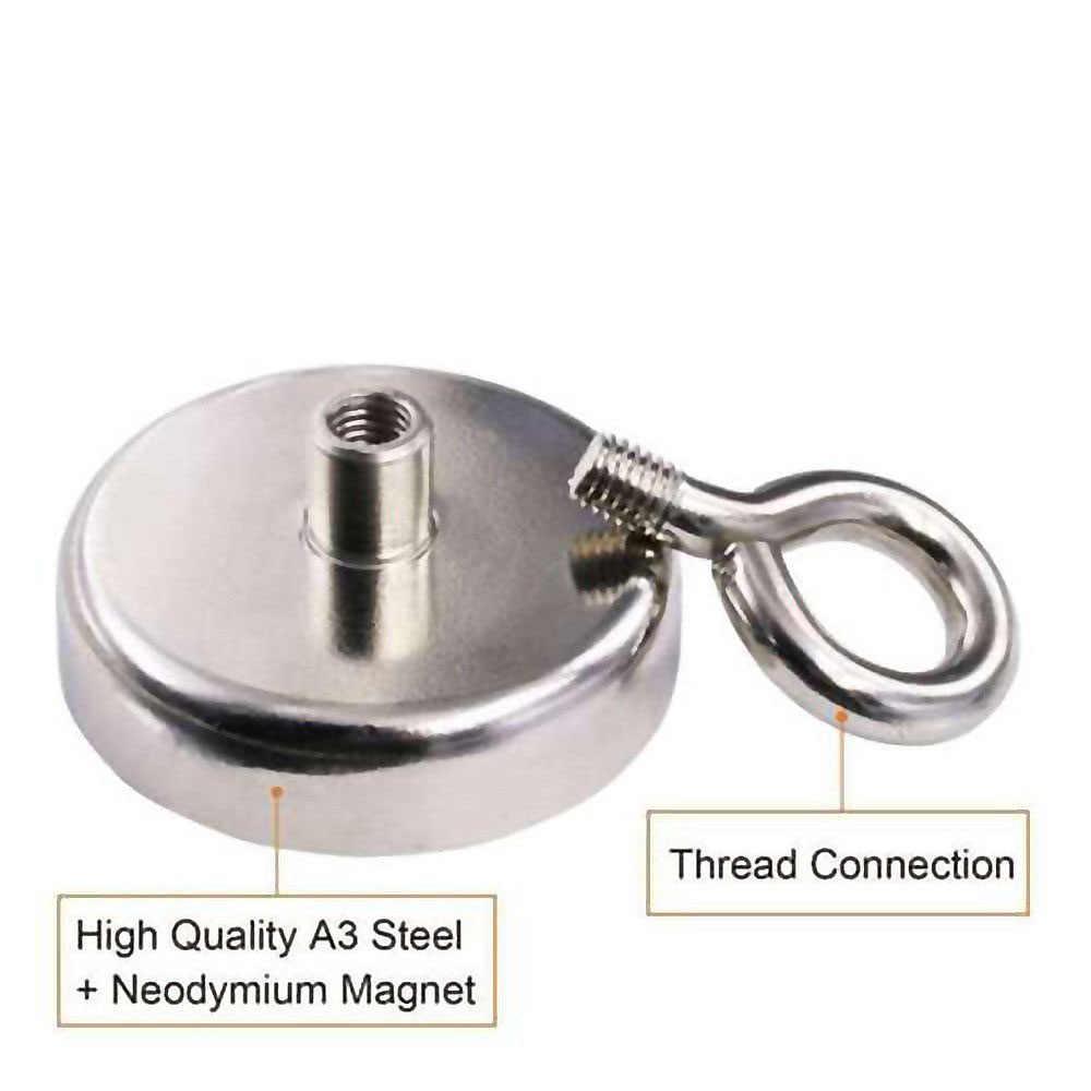 Baru 1.89/2.59 Inci 91/150/180 Lbs Multifungsi Memancing Magnet Neodymium Yang Kuat Bulat Tebal Means