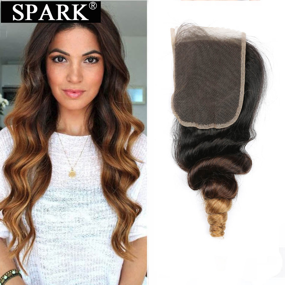 Spark Ombre Brazilian Loose Wave Human Hair 4x4 Lace Closure 8-22inch 1B/30&1B/27 Color Remy Hair Extensions Bundles