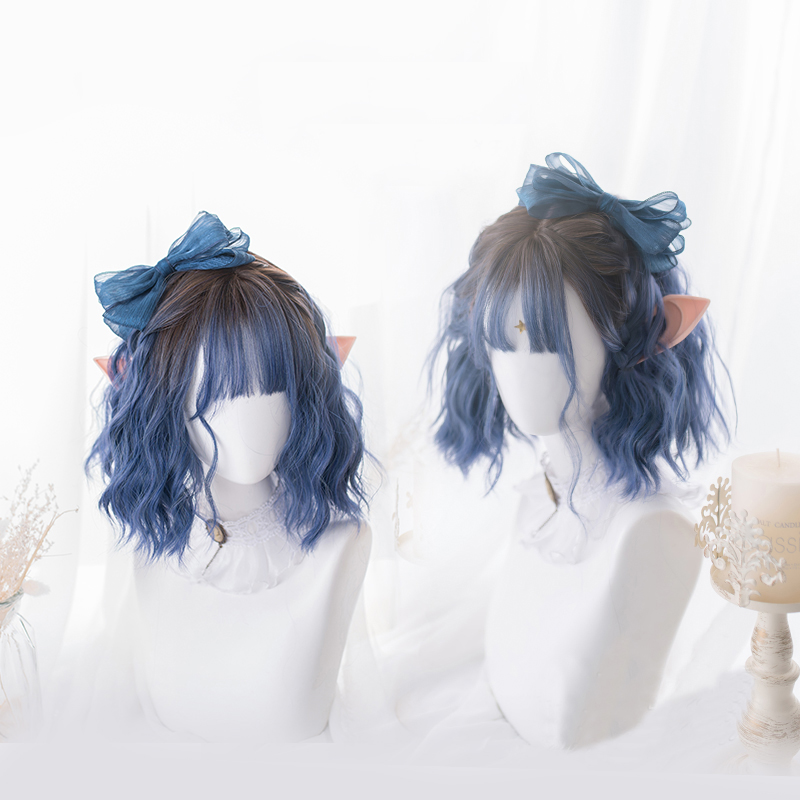 Gradient Ocean Blue Lolita Wig Harajuku Fairy Cosplay Bangs Curly Short Sweet Fringe Synthetic Hair For Adult Girls