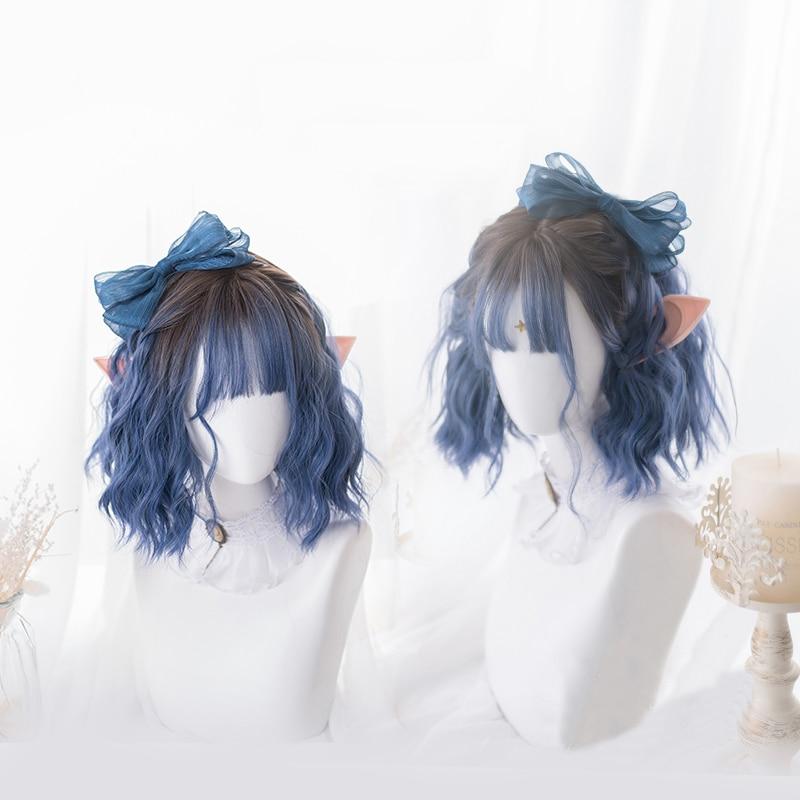 Gradient Ocean Blue Lolita Wig Harajuku Fairy Cosplay Bangs Curly Short Sweet Fringe Synthetic Hair For Adult Girls