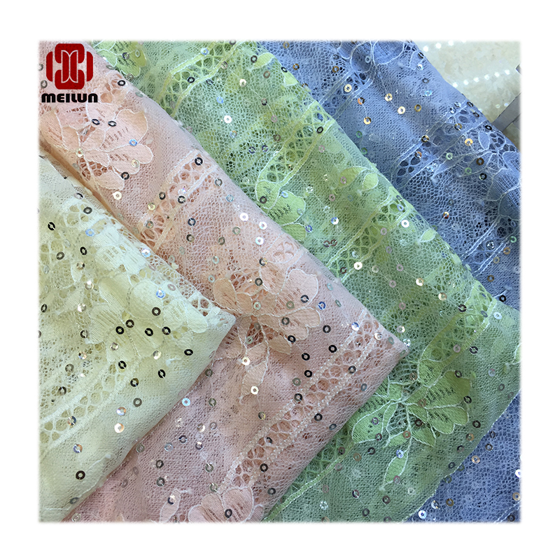 New Exquisite Diy Handmade Tulle Sequins Embroidered African French Lace For Wedding Evening  Party Dress Cheongsam Lace Fabric