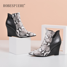 ROBESPIERE Snake Boots Women Quality Genuine Leather Mixed Colors Ladies Shoes Sexy Pointed Toe Zipper Wedges Winter B91