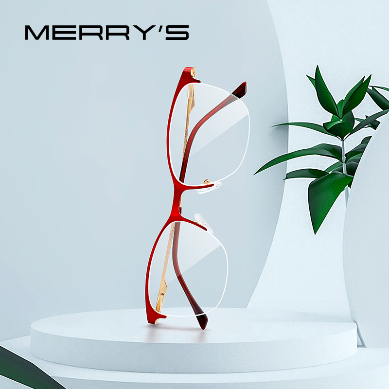 MERRYS DESIGN Women Cat Eye Glasses Half Frame Ladies Fashion Trending Eyewear Myopia Prescription Optical Glasses S2006