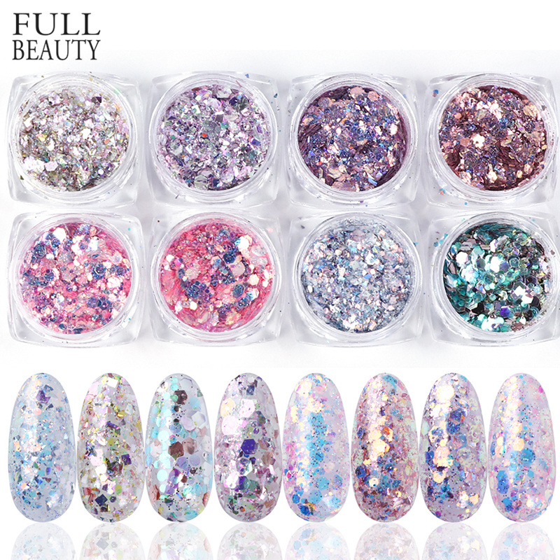 1Set Holographic Nail Glitter Set Powder Nail Art Pigment DIY Flake Nail Art Decorations Dust Gel Manicure Pigment CH1506-08