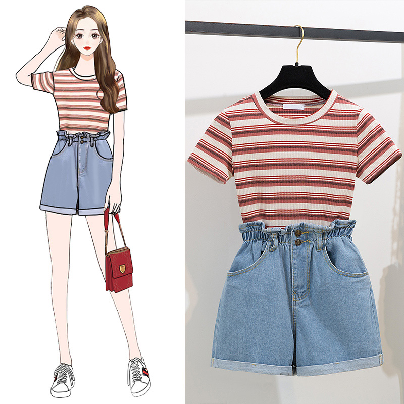 Leisure Striped Short Sleeve Shirt Cowboy Wide-Legged Elastic Waist Shorts Two Pieces Suits Women Clothing Sets