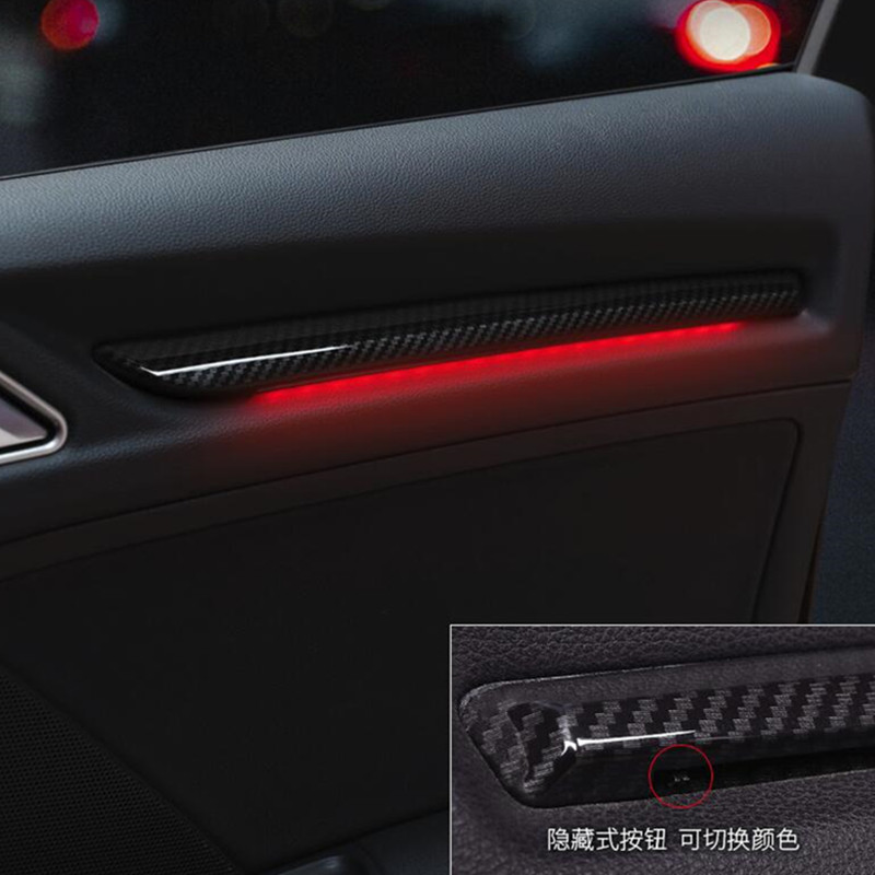 Car Door LED Lamp Cover Trim Carbon Fiber Color 4Pcs For Audi A3 8V 2014-2019 S3 Auto Interior Ambient Light Decoration ABS