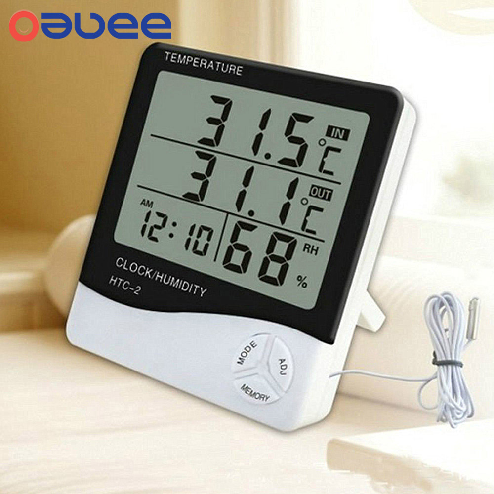 Oauee LCD Electronic Digital Temperature Humidity Meter Indoor Outdoor Thermometer Hygrometer Weather Station Clock HTC-1 HTC-2