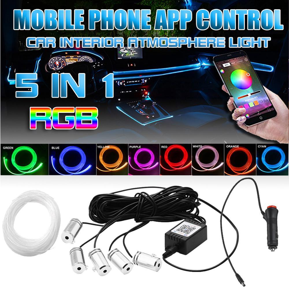 Светодиодная ленсветильник RGB для создания атмосферы в салоне автомобиля, 5 светодиодов, 6 м