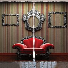 Cortinas de ventana antiguas de pared y silla MARCO DE FOTOS Vintage fondo de rayas verticales suelo de madera imagen Decoración Para sala de estar