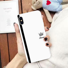 JAMULAR King Queen Lovers Couple Case For iPhone X XS MAX X XR 11 Pro 7 8 6 6s Plus Black White Silicone Soft Phone Cover Coque