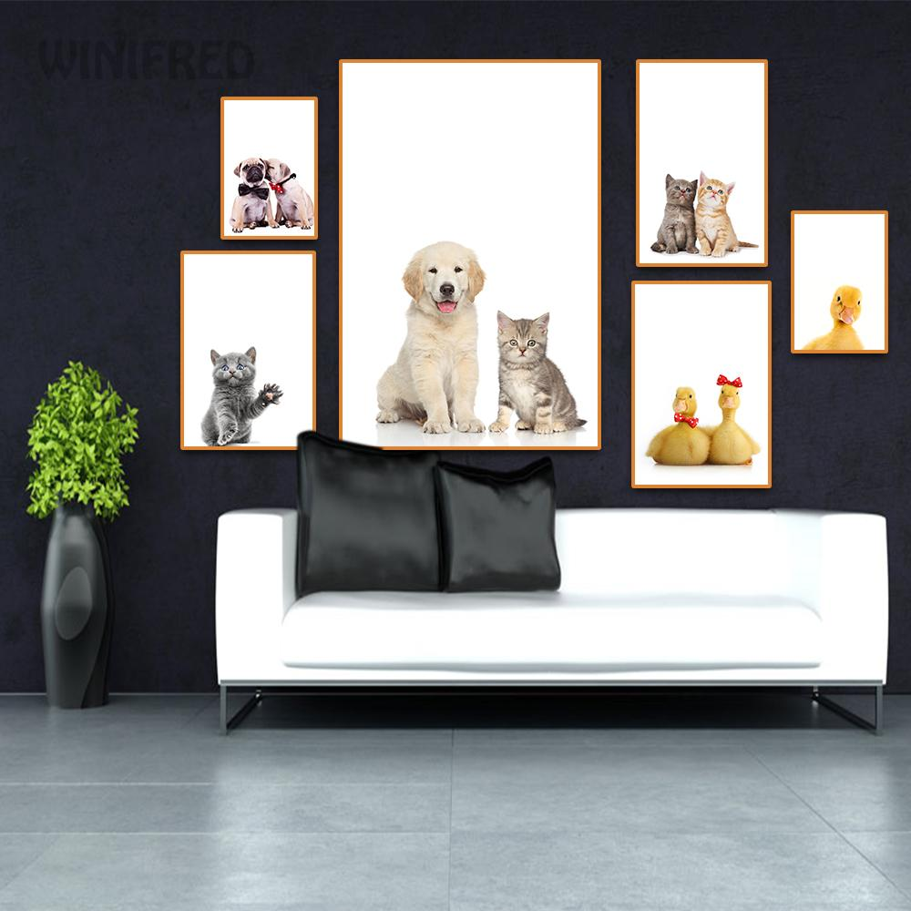 Animal Poster Dog Cat Chicken Christmas Gift Canvas Painting Print Wall Art Decor Picture For Room Bedroom Decoration Home Decor image