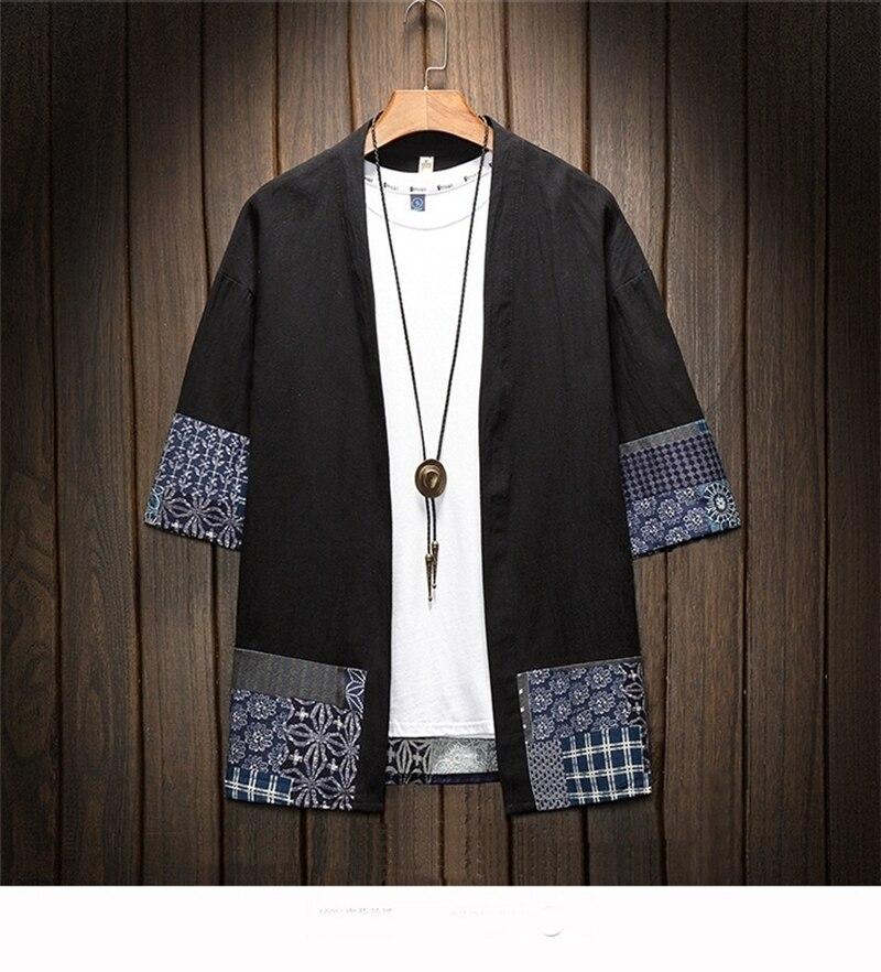 Japanese Kimono Traditional Men Clothing Japanese Kimono Men Jacket Male Kimono Shirt Men Samurai Costume AA001