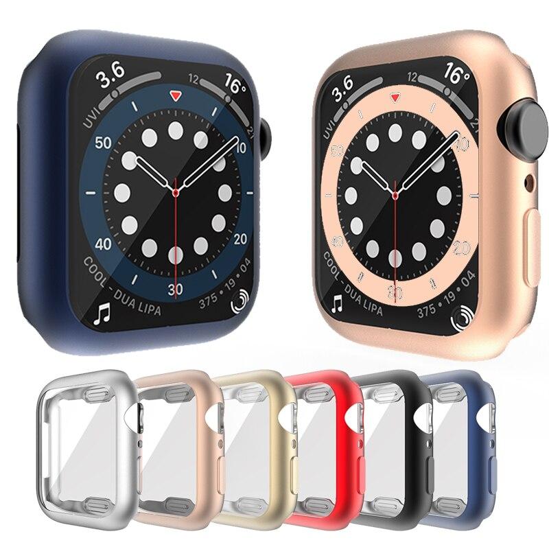 Чехол для часов чехол для Apple Watch серии 6 se 5 4 3 2 1 чехол, 42 мм, 38 м задняя крышка из ТПУ чехол Экран протектор для наручных часов iWatch, 6 5 4 40 мм 44 мм