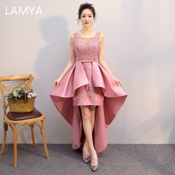 Lamya Satin Short Front Long Back Evening Dresses V Neck Lace Appliques vestido de festa High Low Fromal Party Gown 2019 New