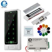 Kontrola dostępu do drzwi RFID zestaw do organizacji dotykowy metalowa klawiatura czytnik + zasilacz + zamki elektroniczne rygiel elektromagnetyczny