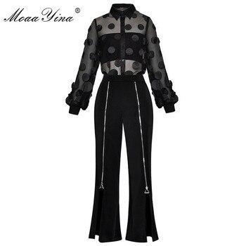 MoaaYina модный дизайнерский костюм весна лето женская прозрачная сетчатая аппликация рубашка Топы + молния раздельные брюки комплект из двух ...