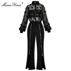 MoaaYina Fashion Designer Suit Spring Summer Women See through Mesh Applique Shirt Tops+zipper Split trousers Two-piece set